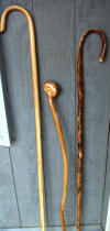 Left to right 63 inch Oak Shepherds Hook, 48 inch wild cherry shillelagh,58 inch hickory Shepherd's Crook